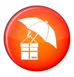 Umbrella and a cardboard box icon flat style vector image