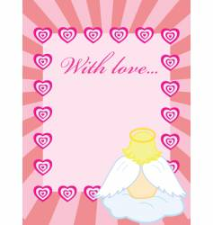 valentine card with baby angel vector image