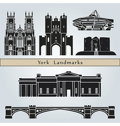 York landmarks and monuments vector image vector image