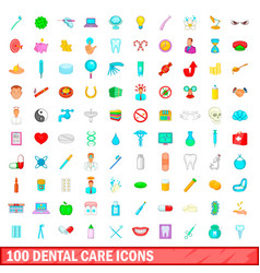 100 dental care icons set cartoon style vector image