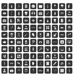 100 doctor icons set black vector