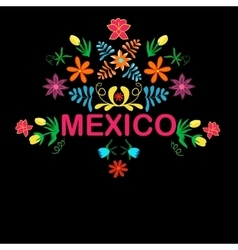 Mexico flowers pattern and elements vector