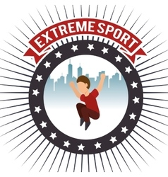 Parkour extreme sport urban background label vector