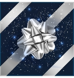 Silver and blue Christmas Bow with confetti on vector image