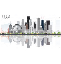 Usa skyline with gray skyscrapers vector