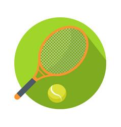 Racket and ball icon logo for tennis web button vector
