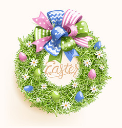 Easter festive grass wreath with bow egg flower vector