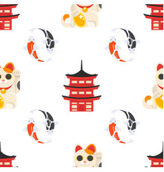 Pattern with japanese traditional symbols vector