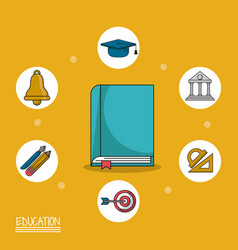 Colorful poster of education with book in closeup vector