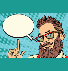 bearded hipster man portrait pointing finger vector image