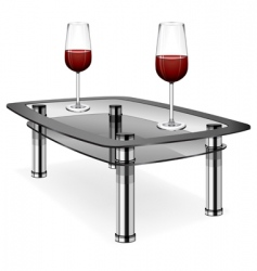 Wine glasses on table vector
