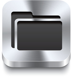 Square metal button perspektive - folder icon vector