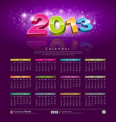 2013 new year calendar vector image vector image