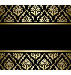 black bright card with gold pattern vector image