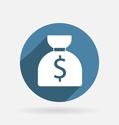 Bag of money circle blue icon vector