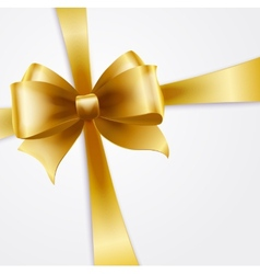 Invitation card with gold holiday ribbon and bow vector