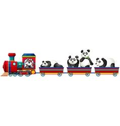 Panda and train vector image