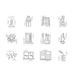 Linear icons collection for chemistry vector