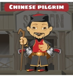 Fictional cartoon character - chinese pilgrim vector