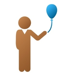 Child with balloon gradient icon vector