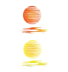 Orange and yellow sunset and sea waves vector