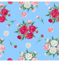 Floral seamless pattern peonies background vector