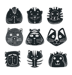 Set of cute doodle cats character sketch cat vector