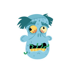 angry zombie man head avatar in cartoon style vector image