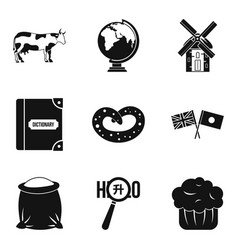 around the world icons set simple style vector image vector image
