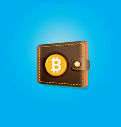 bitcoin wallet icon with coins vector image vector image