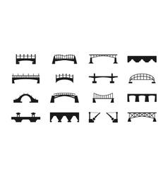 black bridges icons isolated on white urban vector image vector image