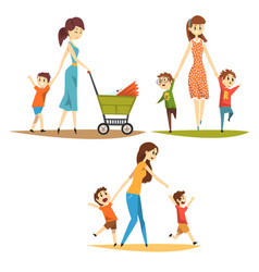 cartoon character set of young mothers with kids vector image vector image