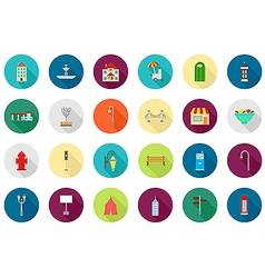 City elements round icons set vector image vector image
