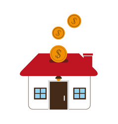 color silhouette with money box in shape of home vector image
