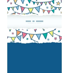 Colorful doodle bunting flags vertical torn frame vector