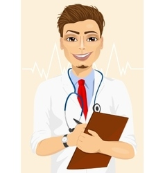 Confident male doctor taking patient notes vector
