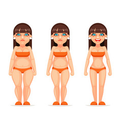 Fat thin female character different stages health vector