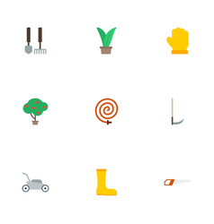 flat icons cutter hacksaw tools and other vector image vector image