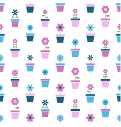 Flowers in pots seamless pattern vector