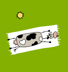 Funny cow on the beach sketch for your design vector