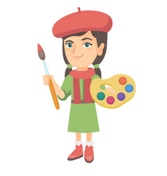 girl dressed as an artist holding brush and paints vector image vector image
