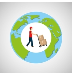 Globe world man delivery pushing boxes vector