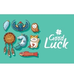 Good Luck Cute hand drawn card with lucky charms vector image