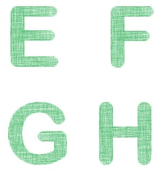 Green fabric font set - letters E F G H vector image
