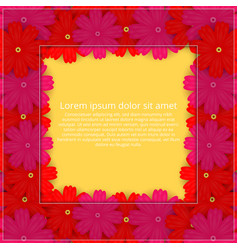 Greeting card with colored flowers floral vector