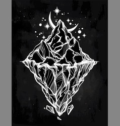 hand drawn beautiful iceberg and moon vector image