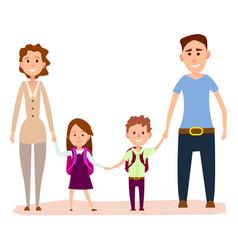 Happy cartoon family with small kids vector
