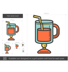 Hot wine line icon vector