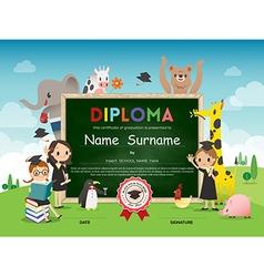 Kids diploma certificate with animal cartoon vector