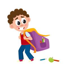 little boy kid going to school with big schoolbag vector image vector image